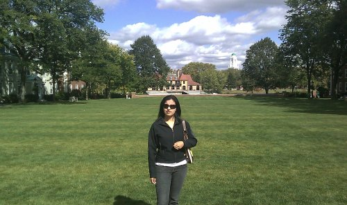 nidhi in front of Baker library