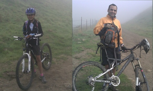 foggy morning ride dad and daughter